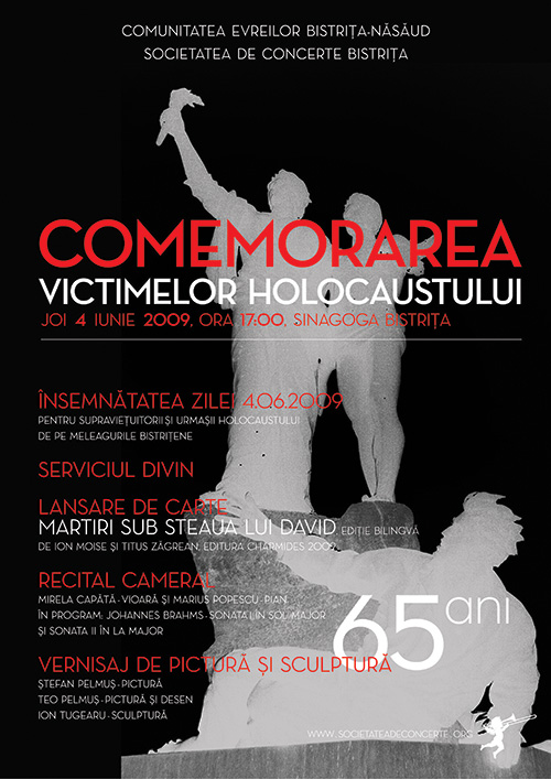 Comemorarea Victimelor Holocaustului, 65 ani: concert, lansare de carte, expozitie de pictura si sculptura