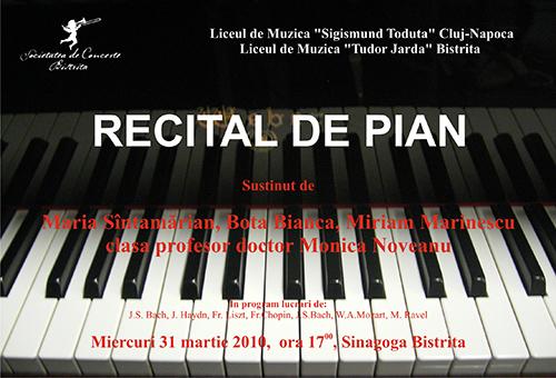 Recital de pian sustinut de clasa profesor doctor Monica Noveanu