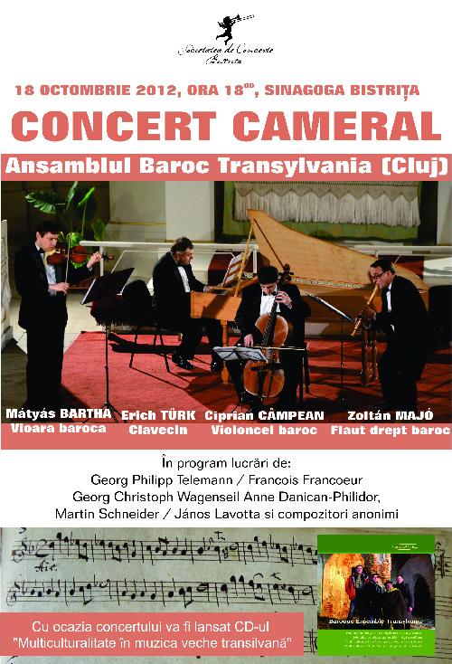 Concert cameral sustinut de ansamblul Baroc Transylvania din Cluj