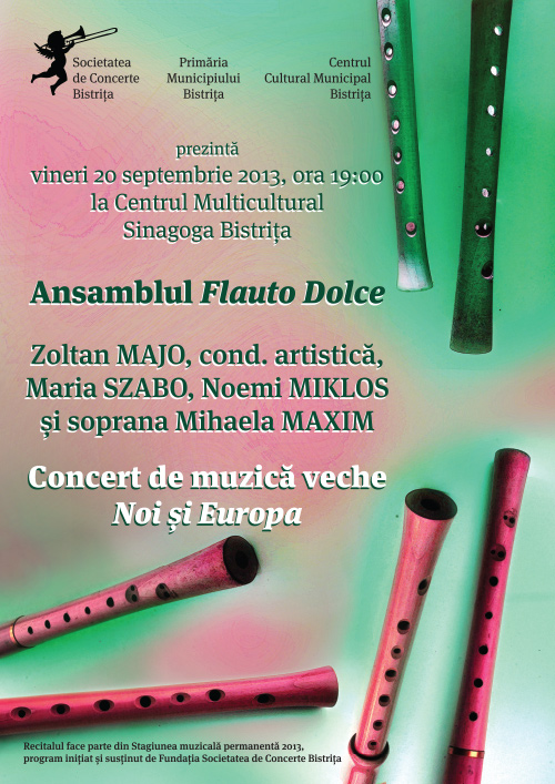 """Concert de muzică veche """"Noi și Europa"""" susținut de ansamblul Flauto Dolce"""