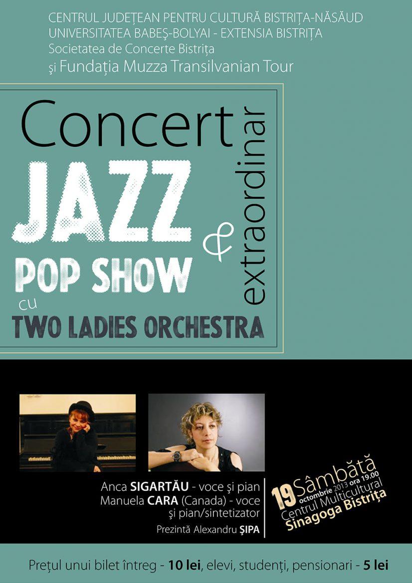 Concert extraordinar Jazz & Pop Show cu Two Ladies Orchestra