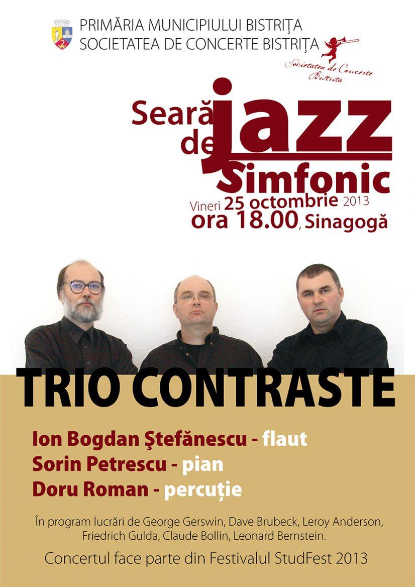 Seară de jazz simfonic cu Trio Contraste