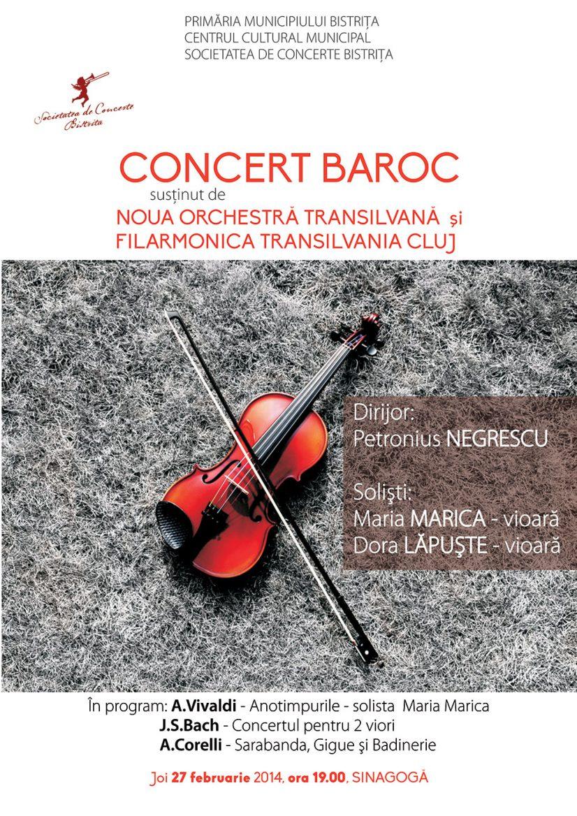 Concert baroc susținut de Noua Orchestră Transilvană și Filarmonica Transilvania Cluj
