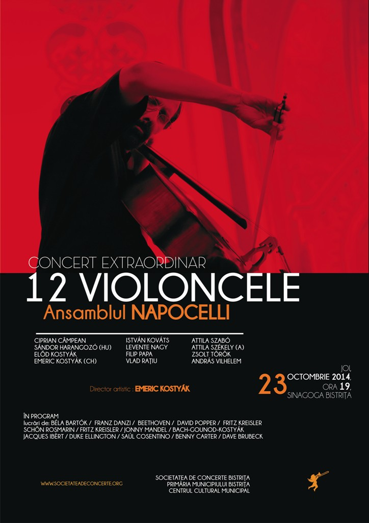Concert extraordinar 12 Violoncele – Ansamblul Napocelli