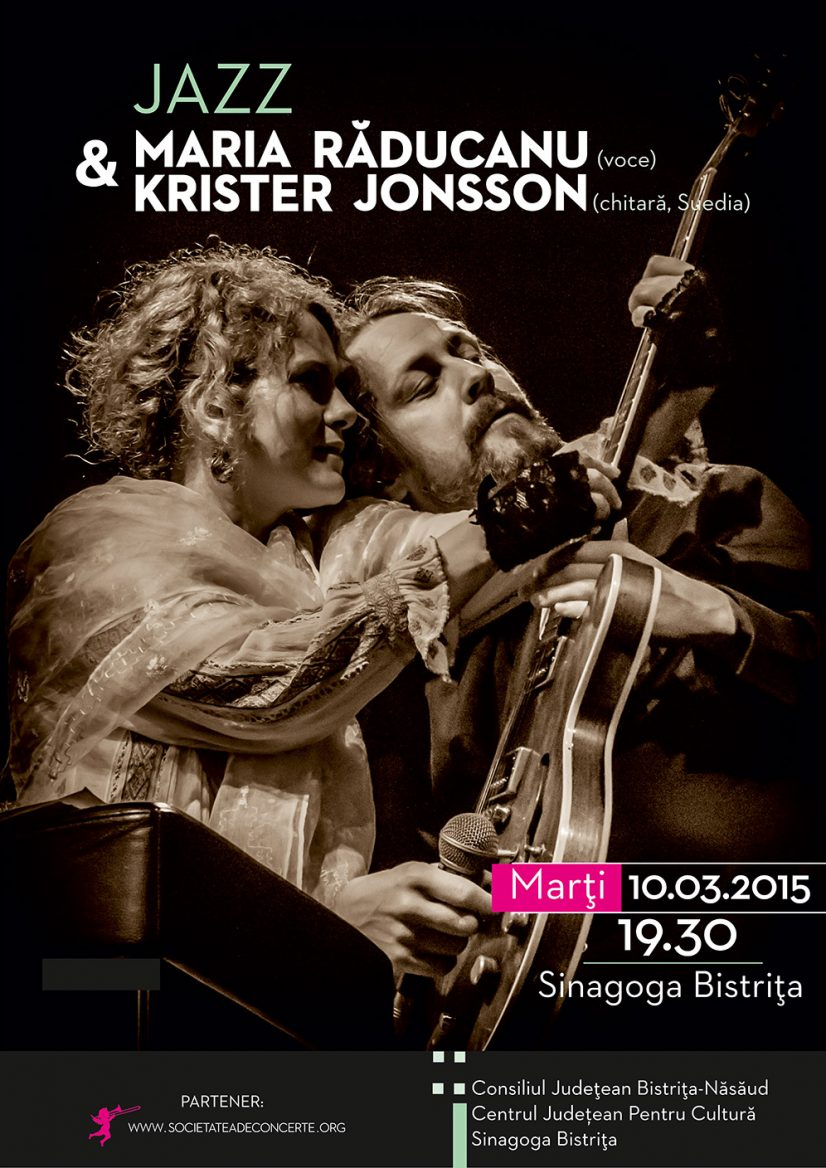 Concert extraordinar de jazz: Maria Răducanu (voce) și Krister Jonsson (chitară, Suedia)