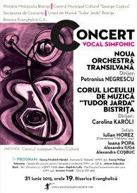 """Concert vocal simfonic susținut de Noua Orchestră Transilvană și corul Liceului de Muzică """"Tudor Jarda"""" Bistrița"""
