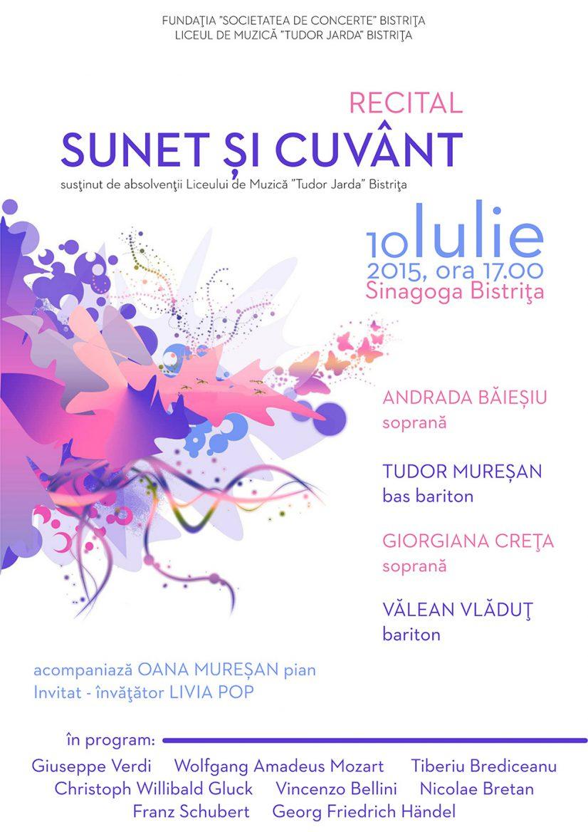 """Recital Sunet și Cuvânt – absolvenții Liceului de Muzică """"Tudor Jarda"""" Bistrița"""