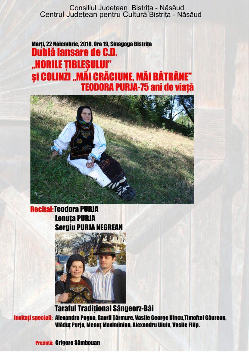 """Dublă lansare de C.D. – Teodora Purja – """"Horile Țibleșului"""" și colinzi """"Măi Crăciune, măi bătrâne"""""""
