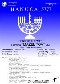 "Hanuca 5777  – Concert Klezmer cu formația ""Mazel Tov"" Cluj"