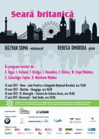 Seară britanică cu Răzvan Suma – violoncel și Rebeca Omordia – pian