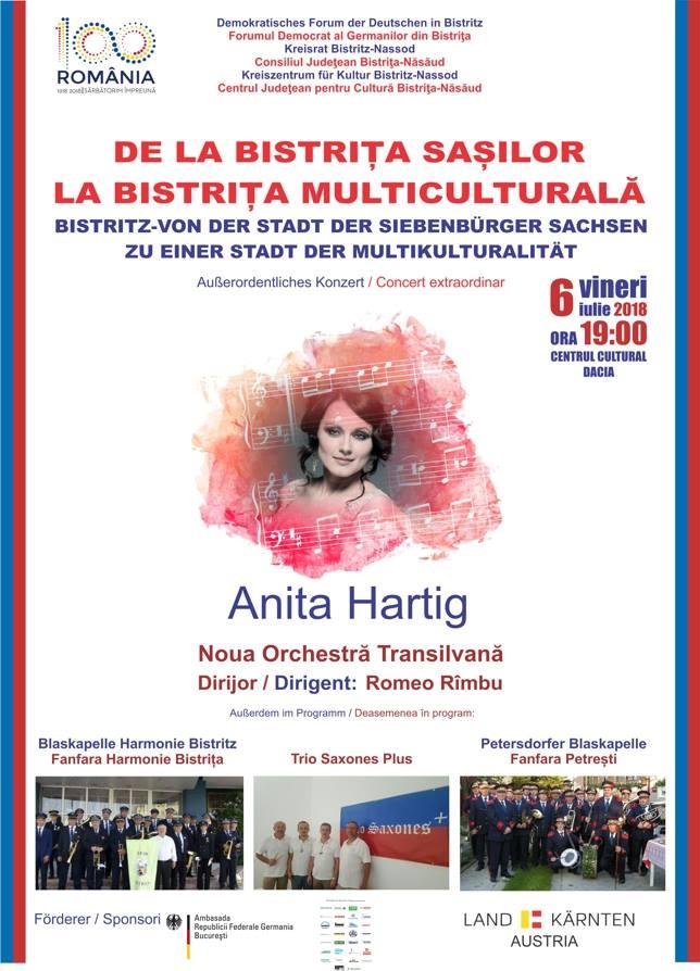 De la Bistriţa saşilor la Bistriţa multiculturală: concert extraordinar susținut de Anita Hartig și Noua Orchestră Transilvană