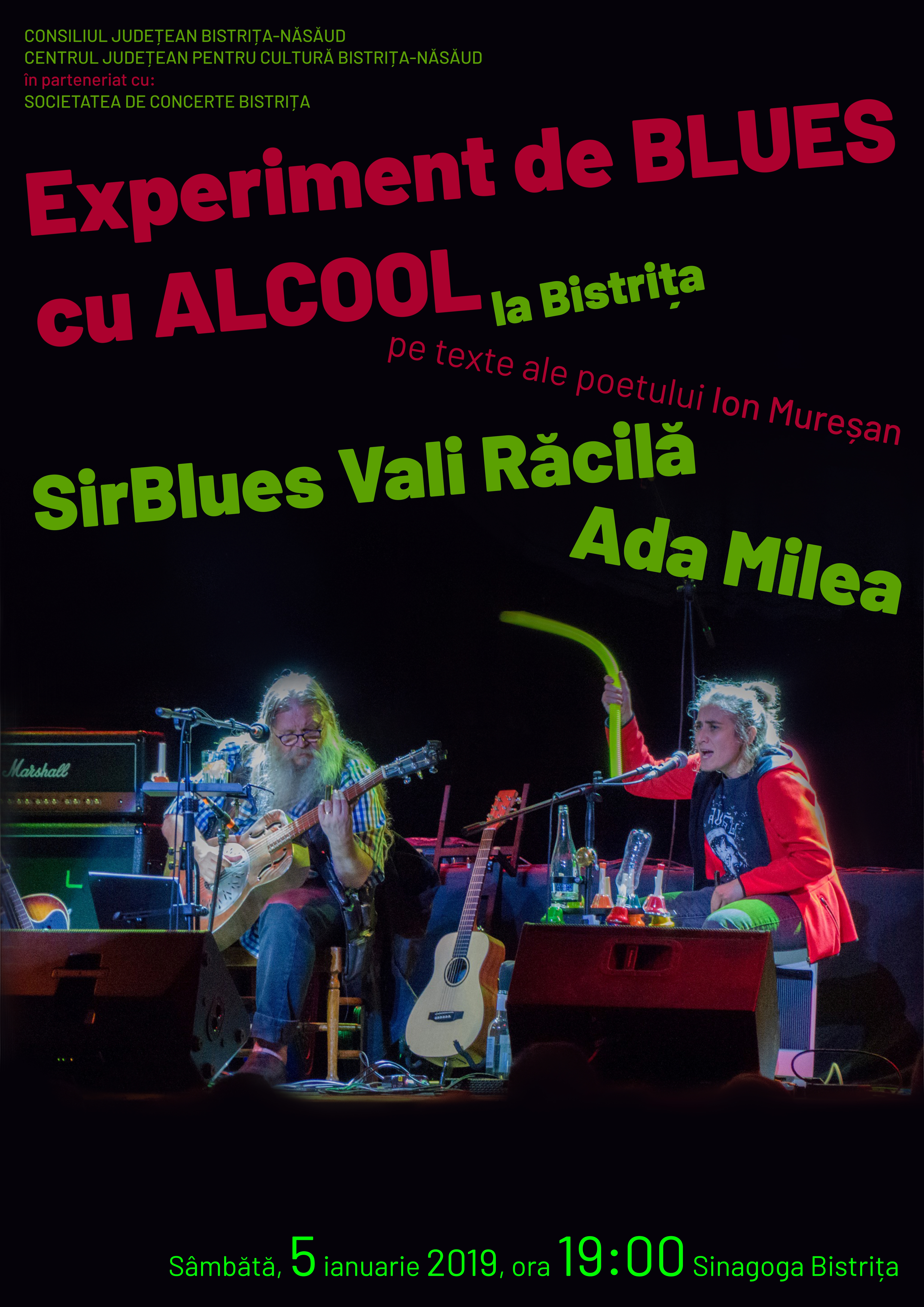 Ada Milea & SirBlues Vali Răcilă: experiment de BLUES cu ALCOOL la Bistrița, pe texte ale poetului Ion Mureșan