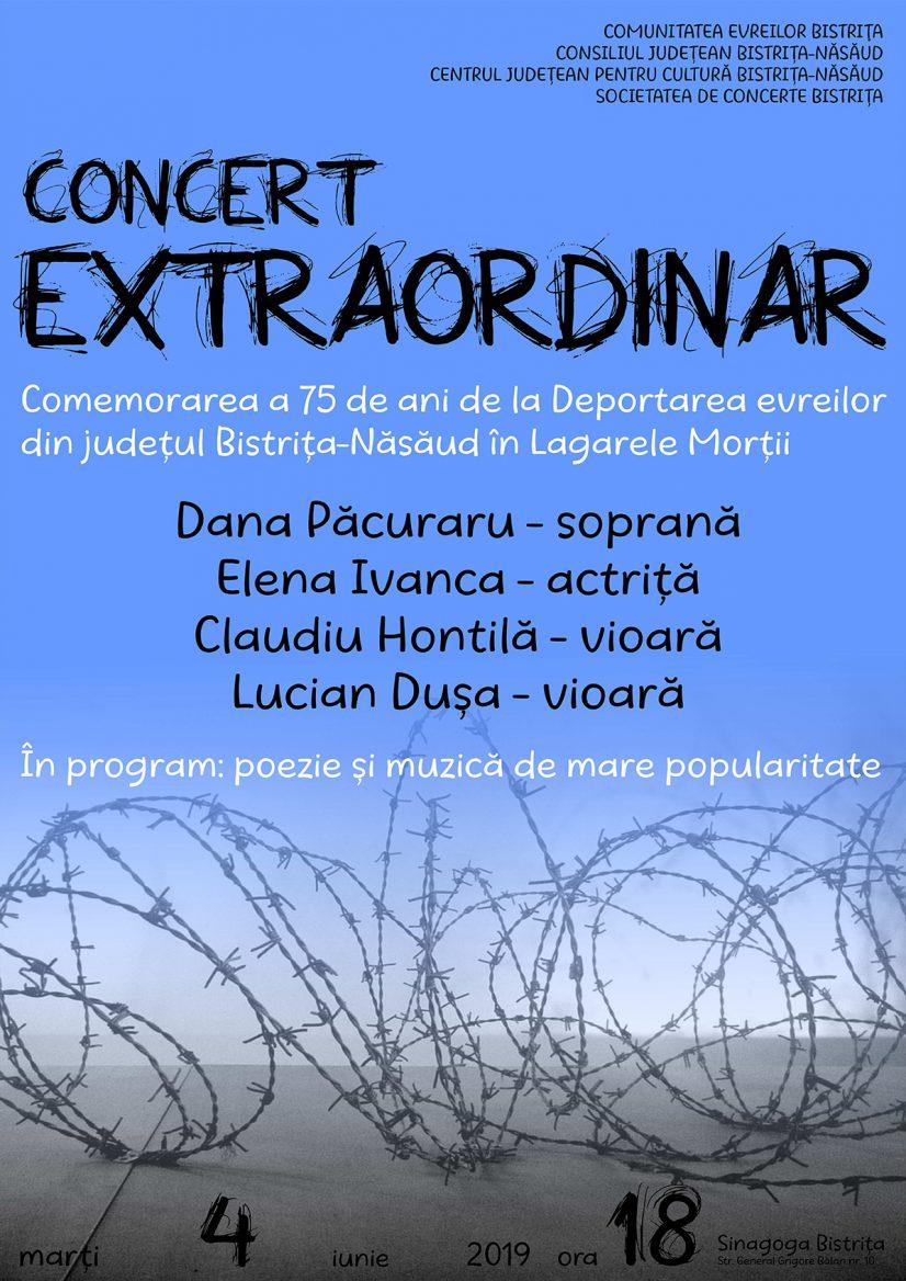 Concert Extraordinar Comemorarea a 75 de ani de la deportarea evreilor din județul Bistrița-Năsăud