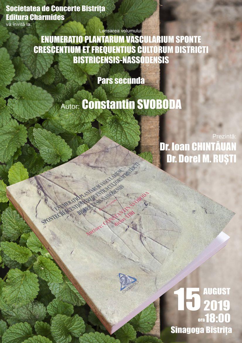 Lansare de carte: Constantin Svoboda – Enumeratio plantarum vascularium sponte crescentium et frequentius cultorum districti Bistricensis-Nassodensis
