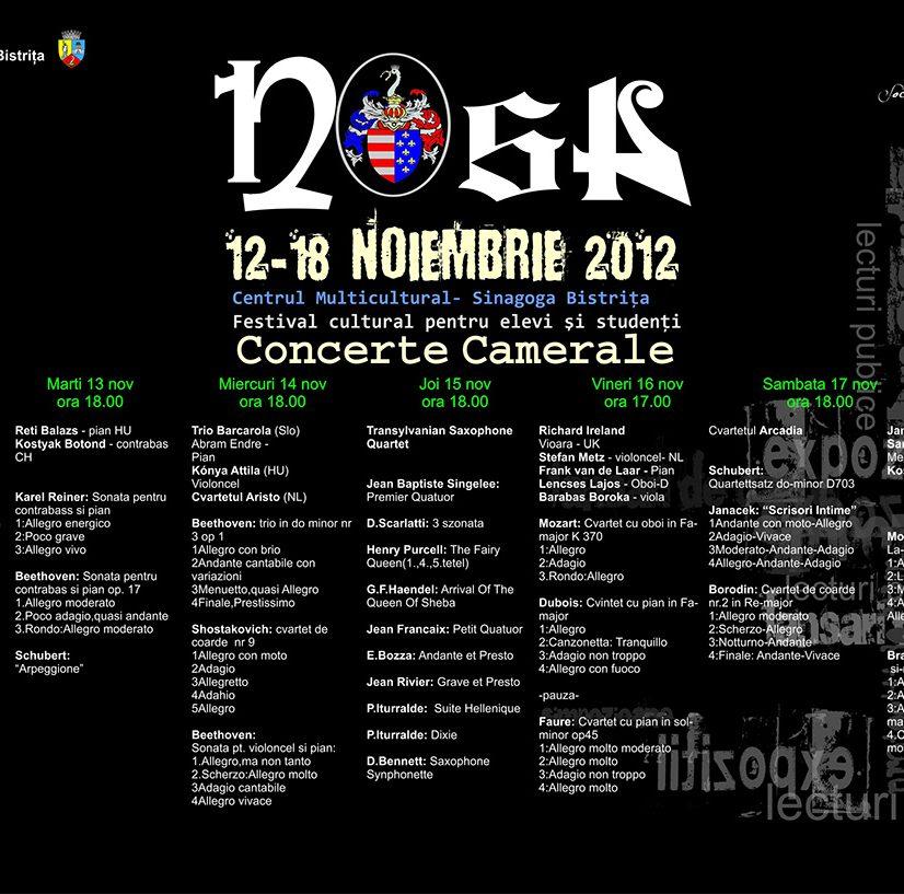 Programul evenimentelor muzicale din cadrul festivalului Nosa 2012