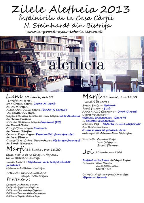 Zilele Aletheia 2013 – Întâlnirile de la Casa Cărții N. Steinhardt din Bistrița