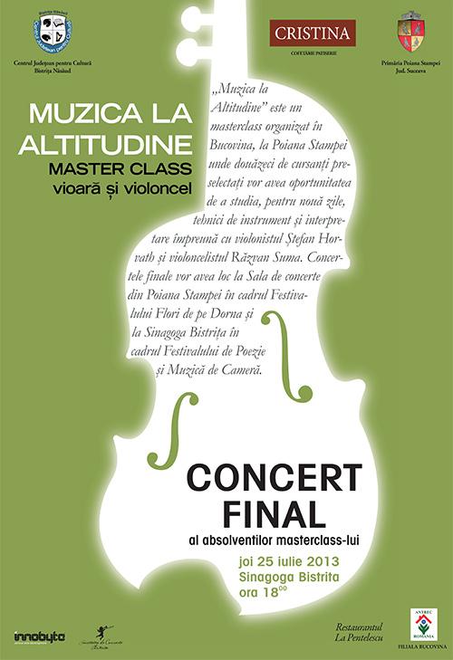 Concert final al absolvenților masterclass-ului de vioară și violoncel Muzica la Altitudine