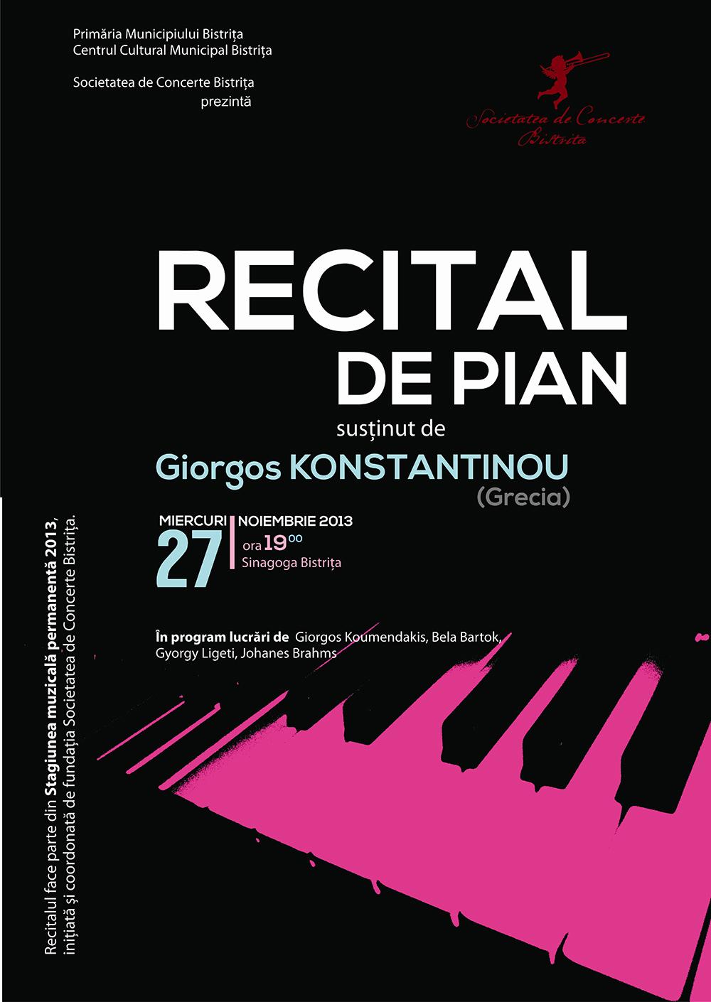 Poster recital pian Giorgos Konstantinou