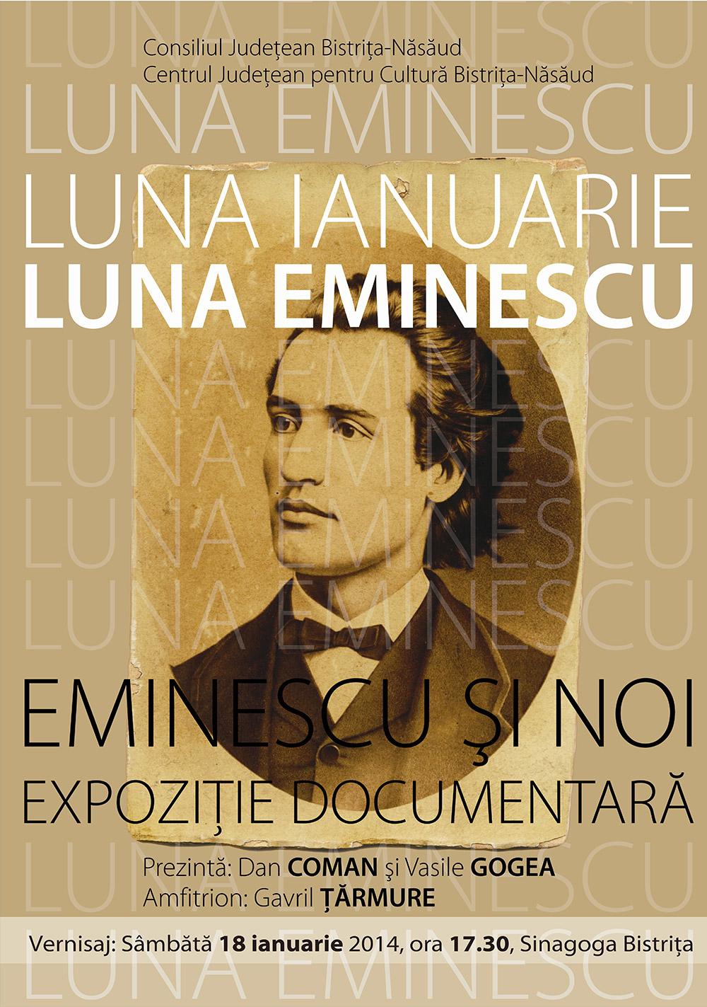 Poster Expoziție documentară Eminescu și noi