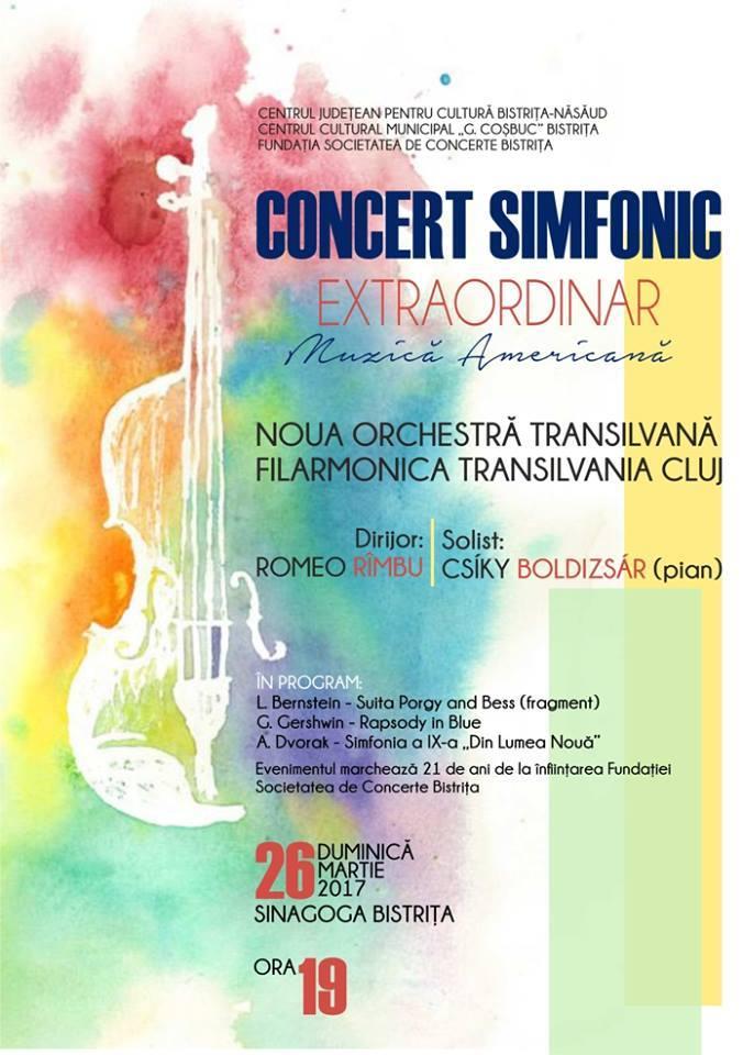 Concert simfonic extraordinar de muzică americană susținut de Noua Orchestră Transilvană – Filarmonica Transilvania Cluj