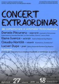 Concert extraordinar de comemorare a victimelor Holocaustului